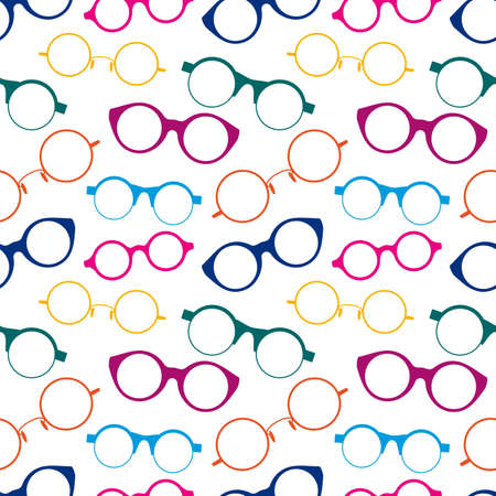 Seamless pattern with colorful retro glasses.