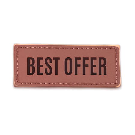 leather label: Best offer, old vintage handmade leather label.  Illustration