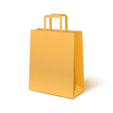 Blank paper bag isolated on white background.  Vector