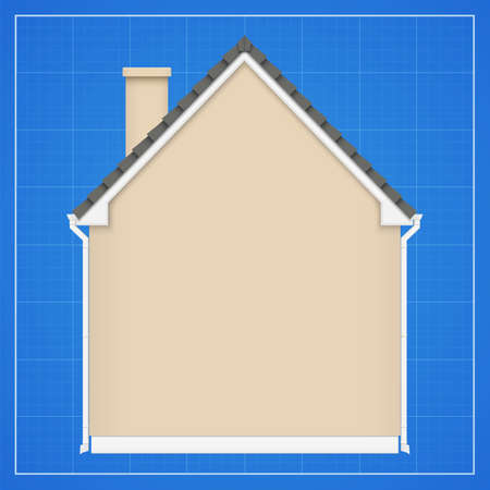 Architecture background with detailed house on a blueprint. Vector illustration  イラスト・ベクター素材