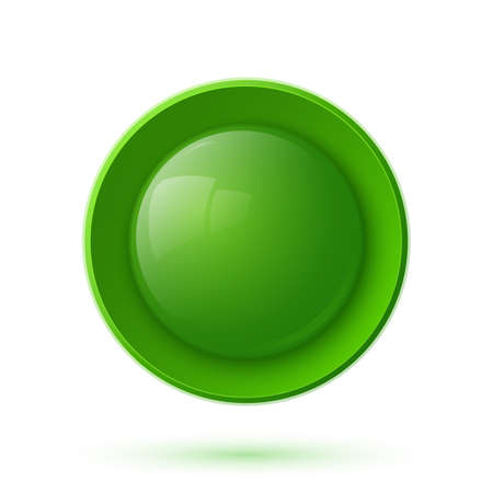 Green glossy button icon isolated on white background. Vector illustration Vector