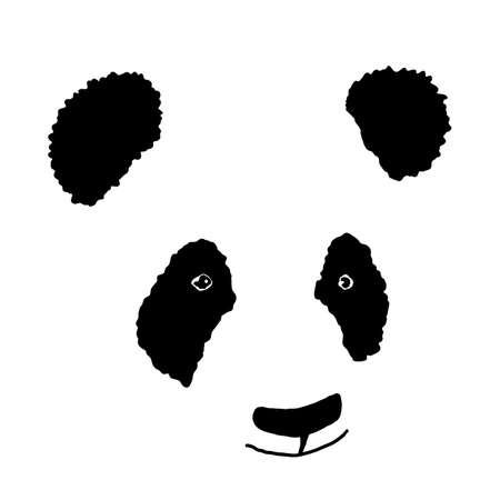Simple hand drawn panda icon. Silhouette. Vector