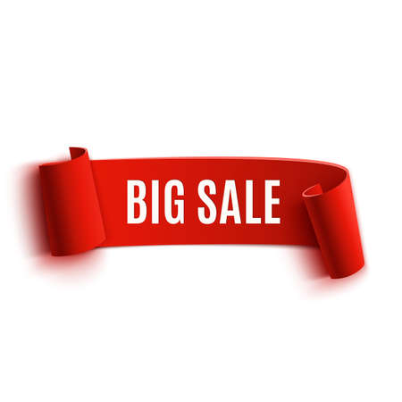 Red realistic detailed curved paper sale banner. Ribbon. Vector illustration