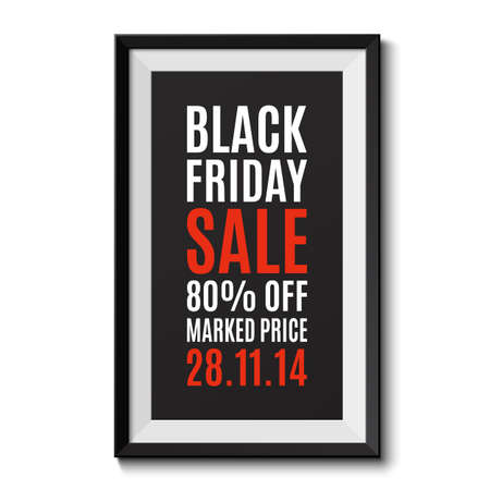 big sale: Black frame isolated on white background. Black friday sale banner. Vector illustration