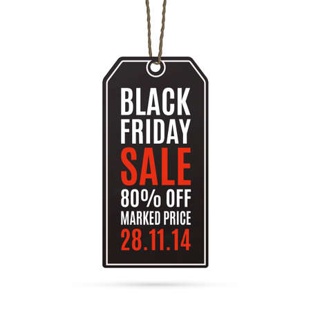 Black friday sale realistic paper price tag. Label. Vector illustration Vector