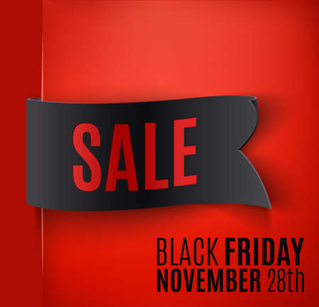 Black realistic curved paper banner. Ribbon. Black friday sale. Vector illustration Vector