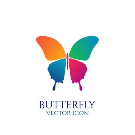 butterfly logo: Butterfly conceptual simple, colorful icon. Logo. Vector illustration