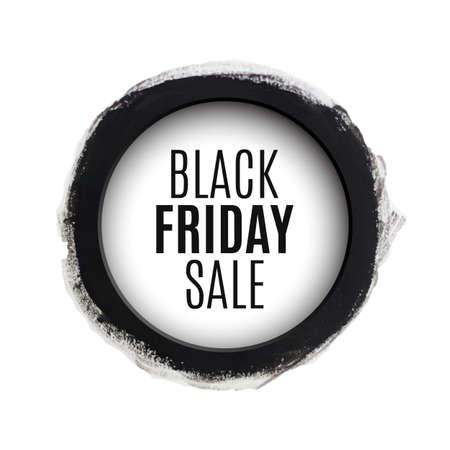 Black friday sale round watercolor banner. Vector illustration Vector
