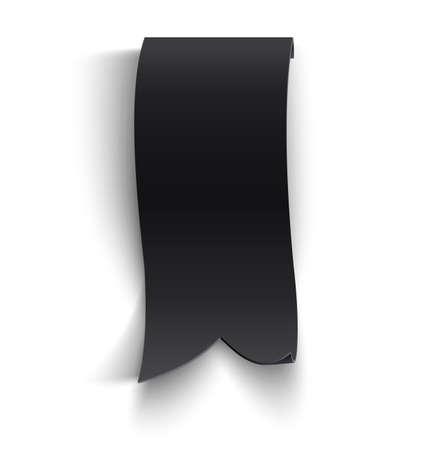Black realistic curved paper banner. Ribbon. Vector illustration Vector