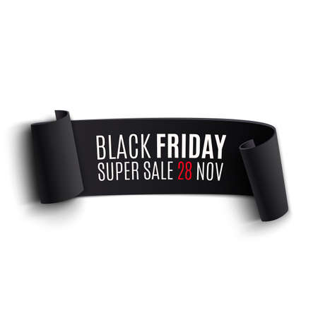 Black realistic curved paper banner. Ribbon. Black friday sale. Vector illustration Vector
