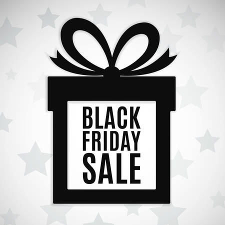 present: Black friday sale background. Gift icon. Vector illustration
