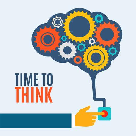 thinking machine: Tiempo para pensar, creativo idea concepto cerebro, la ilustraci�n de fondo Vectores