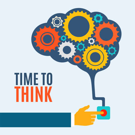 Time to think, creative brain idea concept, background illustration Çizim