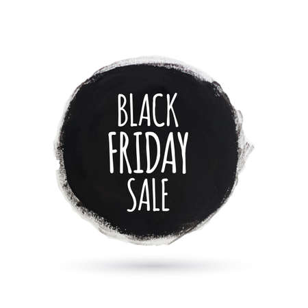 Black friday sale round watercolor banner Vector