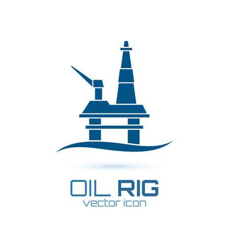 Simple oil rig, conceptual icon Vector