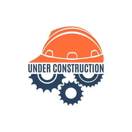 Under construction conceptual logo. Perfect for your presentations, background, brochures and banners. Vector illustration Vector