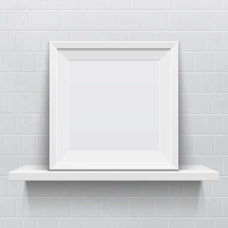 Realistic picture frame on white realistic shelf against brick wall Vector