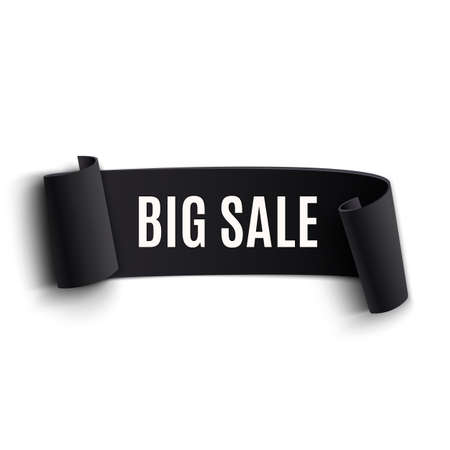 Black realistic curved paper banner. Ribbon. Black friday big sale. Vector illustration Vector