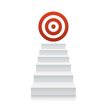 白い背景で隔離赤いターゲット アイコンと階段。手順を実行します。