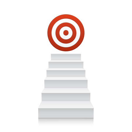 Stairs with red target icon isolated on white background. Steps.
