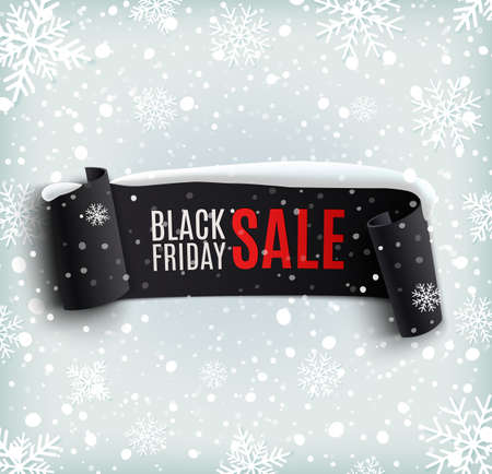 snow: Black Friday sale background with black realistic ribbon banner and snow. Sale. Winter sale. Christmas sale. New year sale. Vector illustration