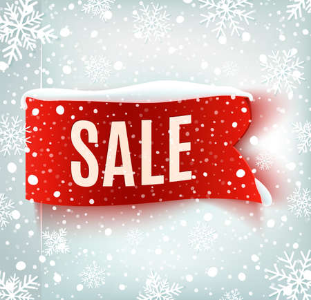 Winter sale background with red realistic ribbon banner and snow. Sale.