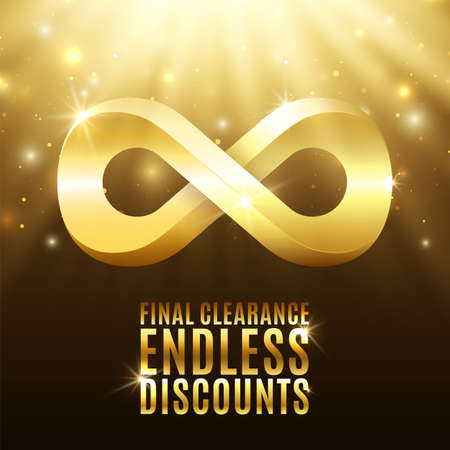 discount poster: Final clearance, endless discounts. Background with light rays, stars and gold infinity symbol.  Illustration