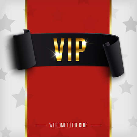 VIP background with realistic black curved ribbon on red carpet. Vector illustration