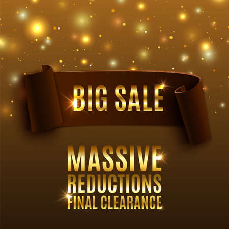 Big sale celebration background with realistic curved ribbon Illustration
