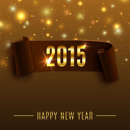 Happy New Year 2015 celebration background with realistic curved ribbon Illustration