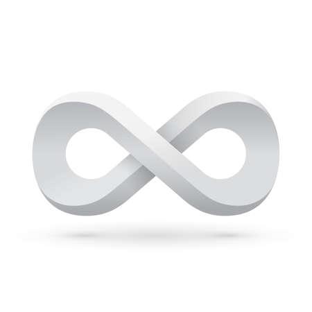 infinity symbol: White infinity symbol. Conceptual icon.  Illustration