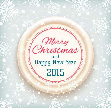 Merry Christmas and Happy New Year 2015 badge on winter snow background. Vector illustration