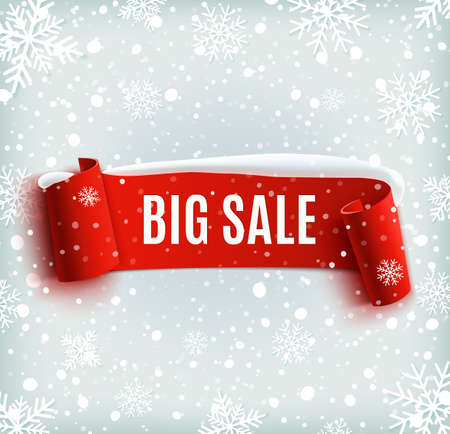 販売の背景に赤リアル リボン バナー、雪冬。販売。ウィンター セール。クリスマス セール。新年の販売。ベクトル イラスト