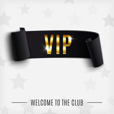 VIP background with realistic black curved ribbon. Vector illustration Vector