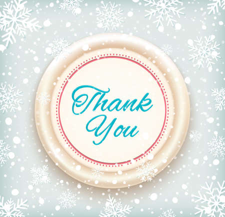 Thank you badge on winter snow background. Vector illustration Vector