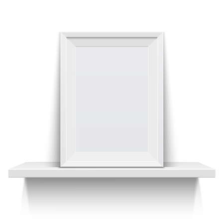 Realistic picture frame on white shelf, isolated on white background. Vector illustration Иллюстрация