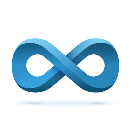 conceptual symbol: Blue infinity symbol. Conceptual icon. Logo template. Vector illustration
