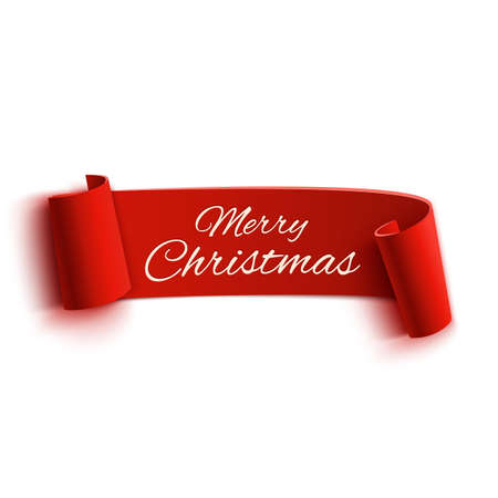 xmas: Red realistic detailed curved paper Merry Christmas banner isolated on white background. Vector illustration