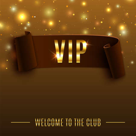 VIP background with realistic brown curved ribbon. Vector illustration
