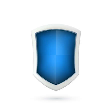 blue shield: Shield icon isolated on white background.