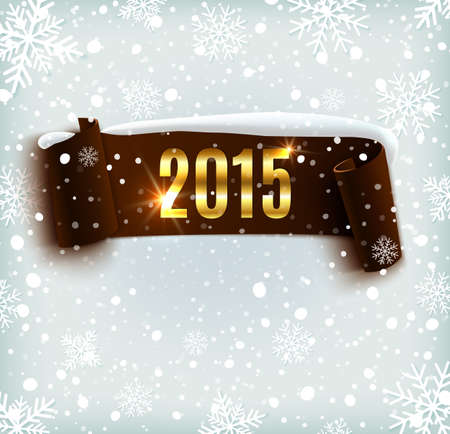 sale icon: Happy New Year 2015 celebration background with realistic curved ribbon and snowflakes. Vector illustration