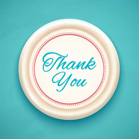 Thank you badge on blue background. Vector illustration Vector