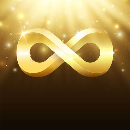Abstract background with light rays, stars and gold infinity symbol. Vector illustration
