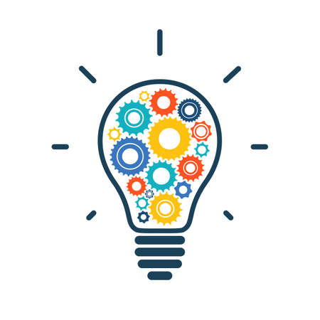 Simple light bulb conceptual icon with colorful gears inside. Vector illustration