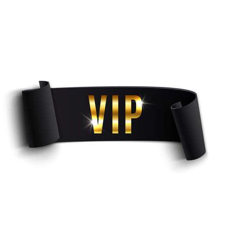 vip symbol: Cinta curvada negro VIP aislado en fondo blanco. Ilustraci�n vectorial