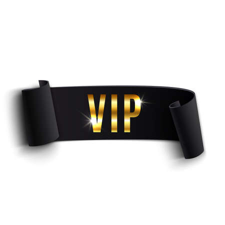 VIP black curved ribbon isolated on white background. Vector illustration Vettoriali