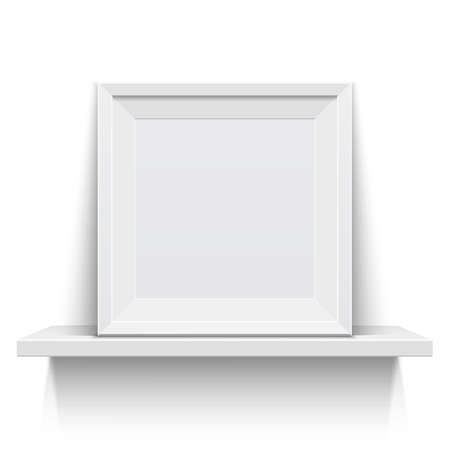 Realistic picture frame on white realistic shelf. Vector illustration Vector
