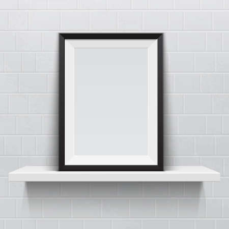 wall paintings: Realistic picture frame on white realistic shelf, against brick wall.