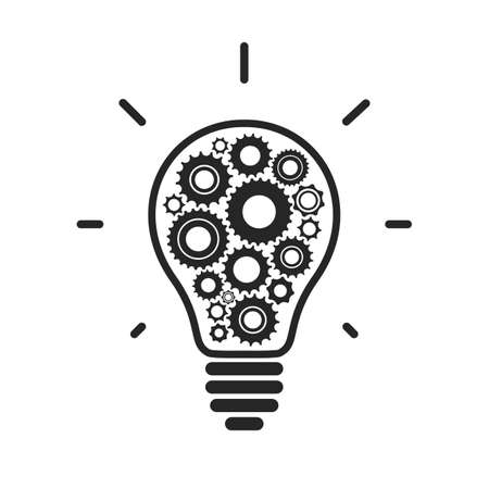 Simple light bulb conceptual icon with gears inside.