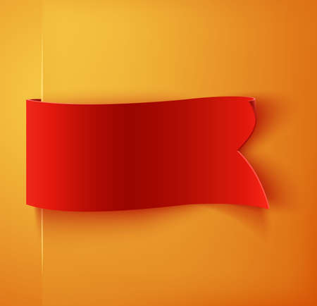 Red realistic blank detailed curved paper banner. Ribbon. Vector illustration Иллюстрация